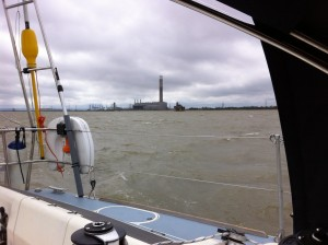 Leaving The Medway 3rd May after anchoring in Stangate Creek