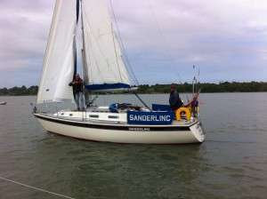 James Robinson at the helm of 'Sanderling'