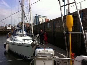 'Livia' Bill & Cath in the lock at Ipswich