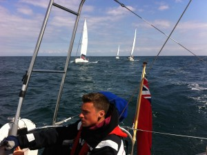 Grouped and crossing the TSS head to wind and motoring...