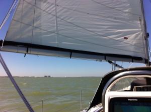 'Dutch Dream', the sail in the distance just below Bradwell