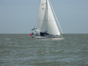 Talisker 1 off Clacton with Stay Sail & a Reef in the Main