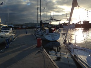 'Talisker 1' sun setting on our arrival Orkney