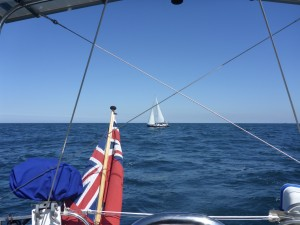 A solitary Dutch Yacht heading north