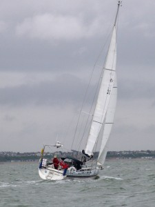 'Talisker 1' down to 1 reefs in the main and the stay sail...