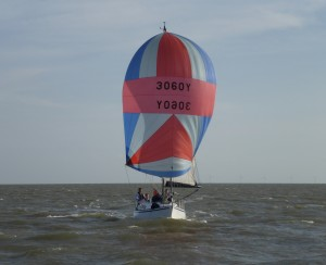 Returning to the Orwell very quickly. 'Outlaw's' spinnaker on the limit in F 4-5's