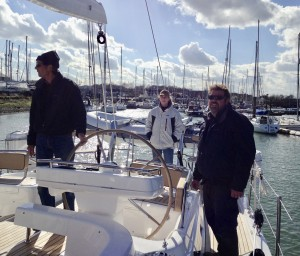 Adrian, Jas and Duncan. Leaving Fox's Marina Ipswich