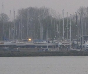 Delayed launch for 'Talisker 1' because of this voyage. She's dead centre of picture on the hard at Suffolk YH