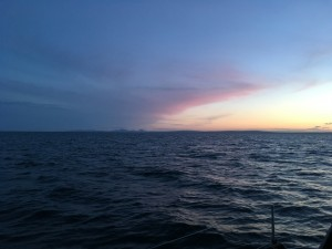 Orkney to starboard on the horizon some 30 NM away at 2300 BST on passage Peterhead to Wick