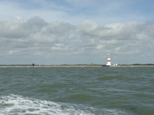 The Lighthouse with Orford Church & Castle clearly visible behind