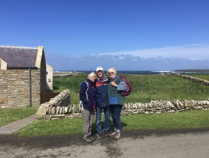 Frances Barnwell, Chris and Caroline Gill. Scara Brae, Orkney