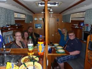 Supper on 'Talisker 1'. Geir, Irene, Jeanette, Fabian & Nikolai Pedersen