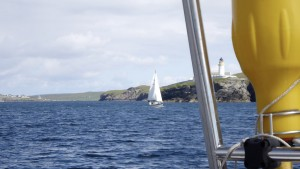 Another sail boat follows out of the S Entrance to Lerwick Harbour