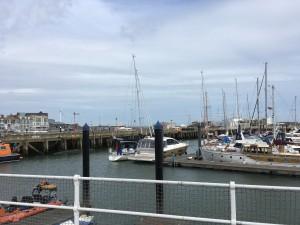 'Talisker 1' rafted to a friendly motor yacht Lowestoft. Royal Norfolk & Suffolk YC