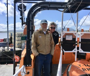 Candy & David visiting the Stromness Life Boat